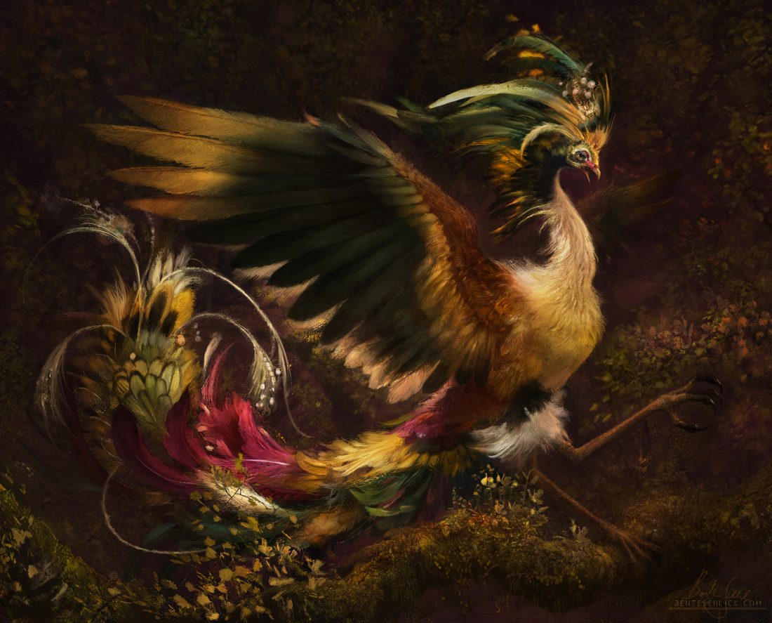 Fenghuang, a mythical bird from asian mythology