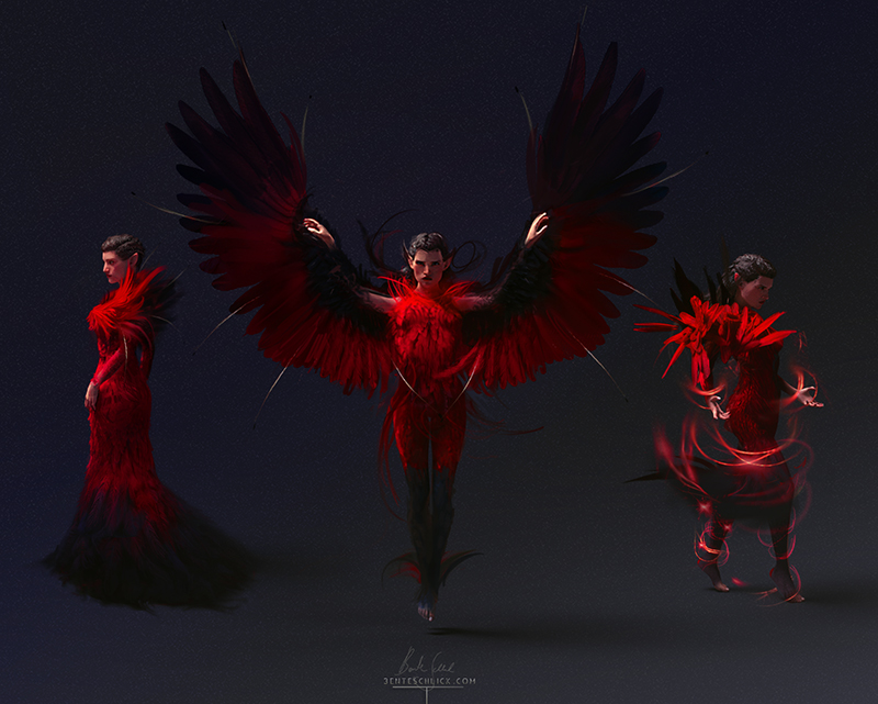 Firebird character development sketches by bente schlick