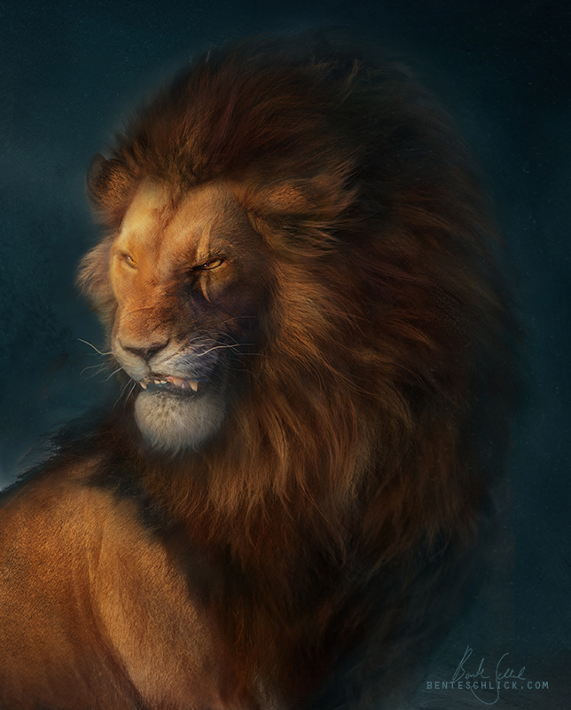 Scar - The Lion King portrait illustration by bente schlick