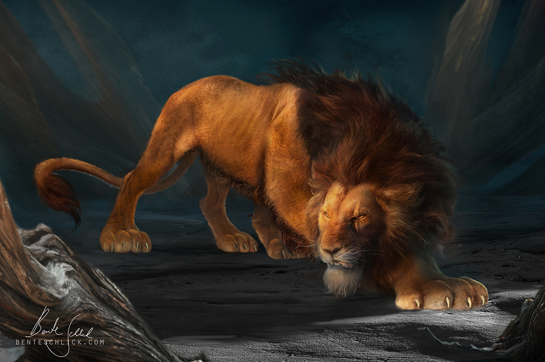 Scar - The Lion King character design and concept art illustration by bente schlick