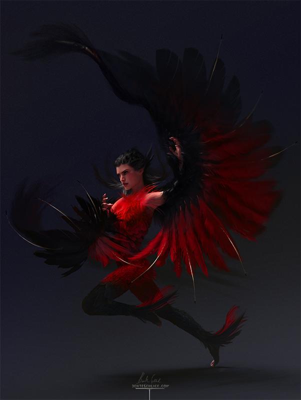 Firebird Phoenix concept art and character design by bente schlick