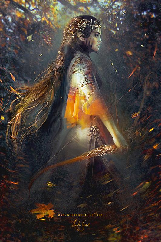 Phoenix fantasy warrior girl illustration by bente schlick