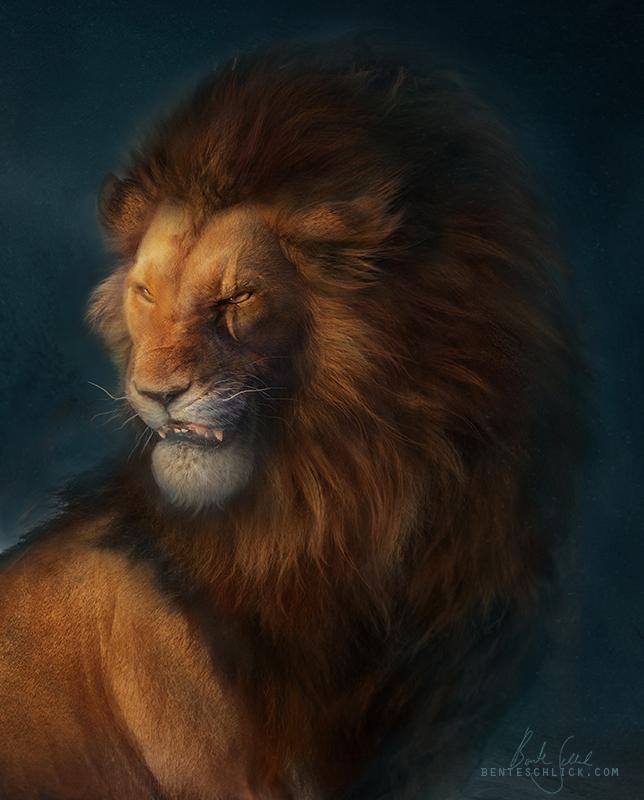 Scar - The Lion King portrait illustration by bente schlick